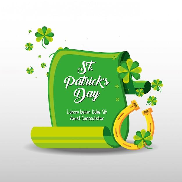 St patrick day with horseshoe Premium Vector