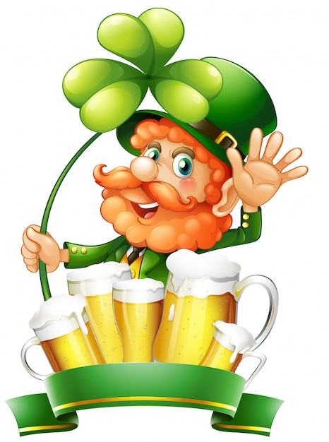 St patrick day with leprechaun and fresh beer Free Vector