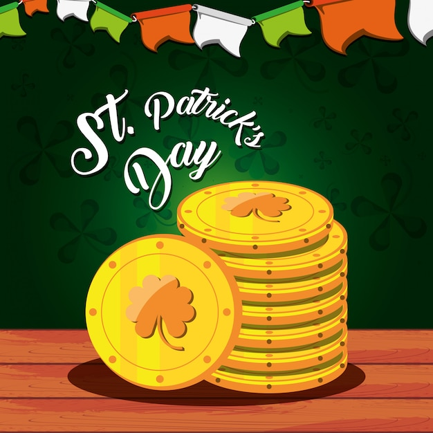 St patrick day with stack coins Premium Vector