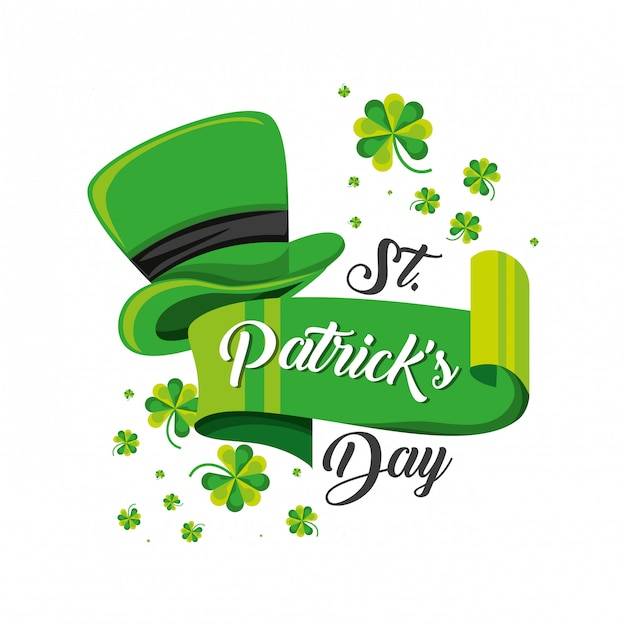 St patrick day with top hat Premium Vector