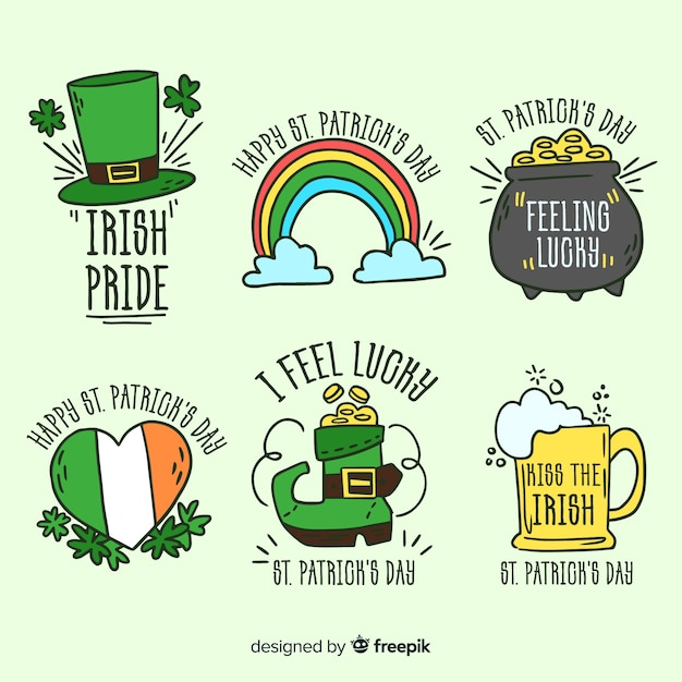 St patrick's badge collection Free Vector