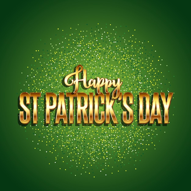 St patrick's day background with gold text Free Vector