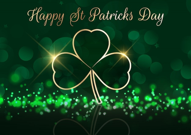 St patrick's day background with shamrock on bokeh lights Free Vector