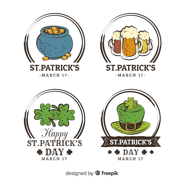 St. patrick's day badge collection Free Vector