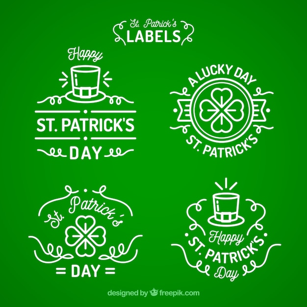St. patrick's day badge/ label collection Free Vector