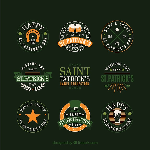 St. patrick's day badge / label collection Free Vector
