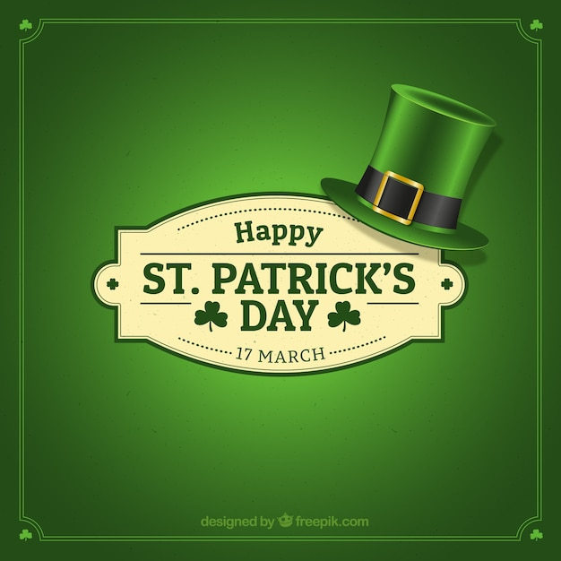 St. patrick's day badge with hat Free Vector