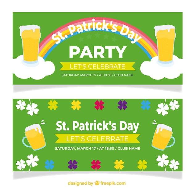 St Patricks Day Banner Web Collection Free Vector