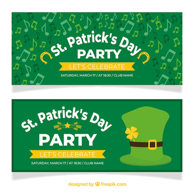 St. patrick's day banner web collection Free Vector