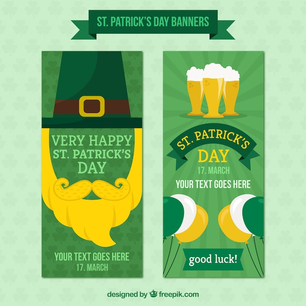 St patrick's day banners pack Free Vector
