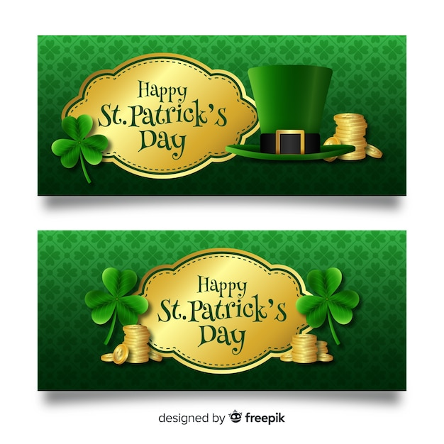 St. patrick's day banners Free Vector