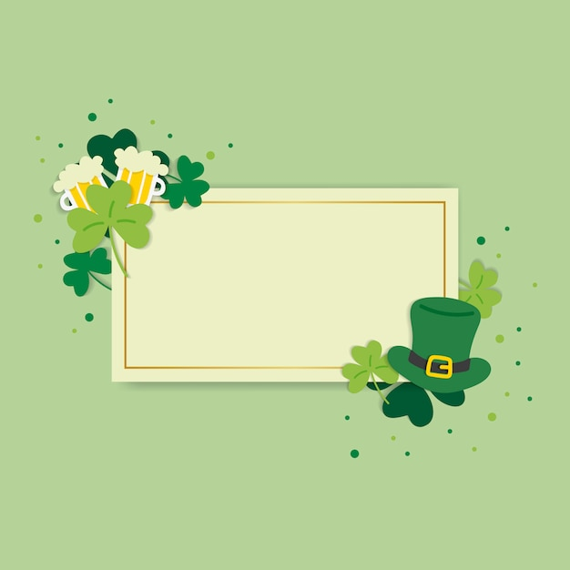 St.patrick's day blank rectangle banner vector Free Vector