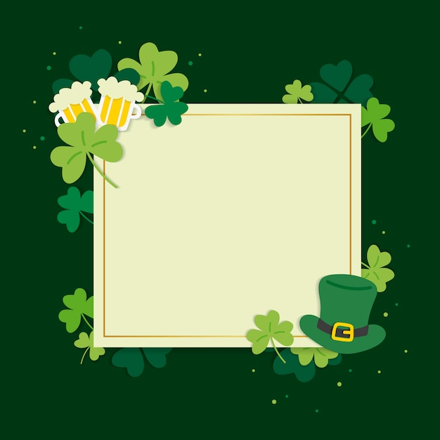 St.patrick's day blank square banner vector Free Vector
