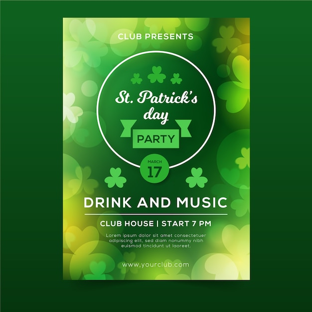 St. patrick's day blurred green drink and music flyer with clovers Free Vector