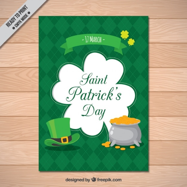st patrick s day brochure template with hat and cauldron vector
