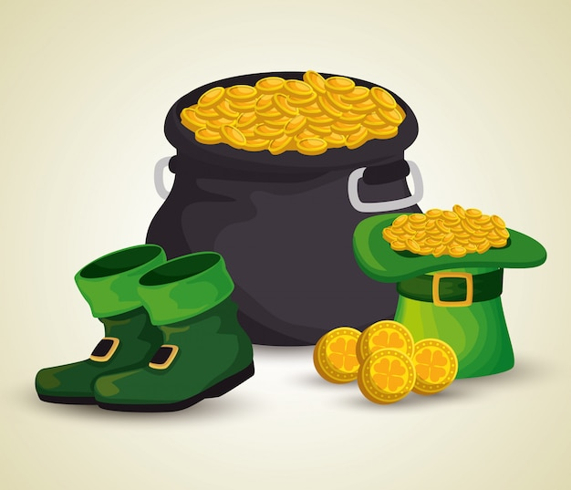 St patrick's day cauldron with golden coins and hat with boots Free Vector