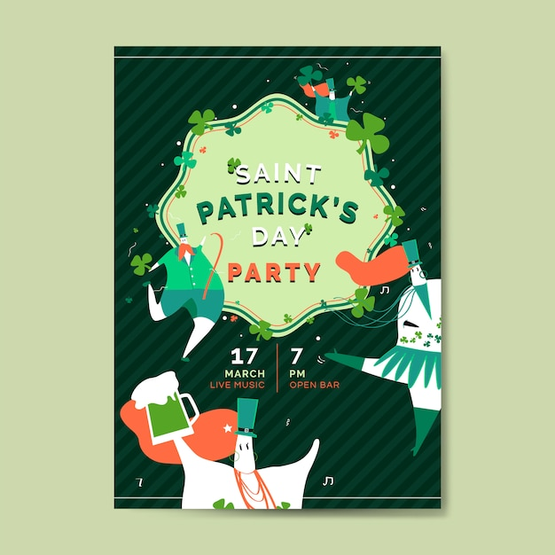 St. patrick's day celebration set layout vector Free Vector