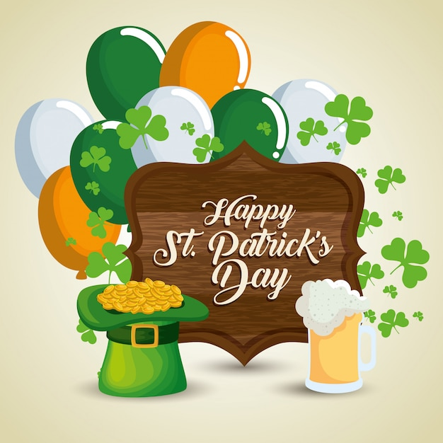 St patrick's day celebration with wood emblem and balloons Free Vector