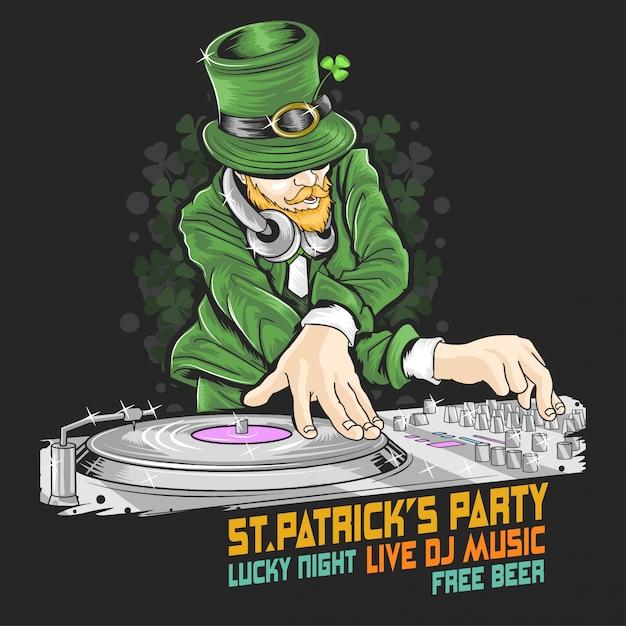 St.patrick's day dj music party Premium Vector