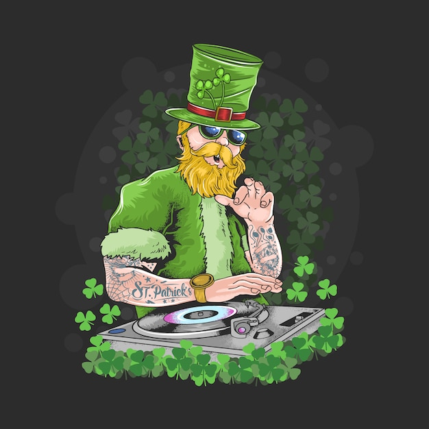 St. patrick's day dj night party tattoo artwork Premium Vector