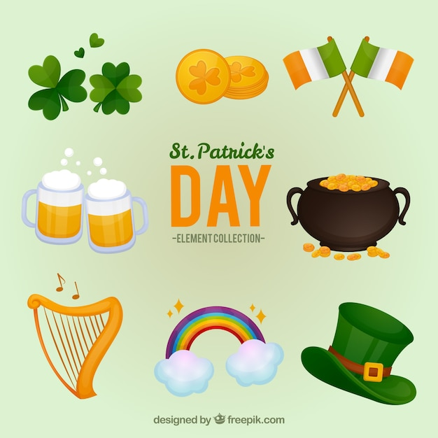 St. patrick's day elements collection Free Vector