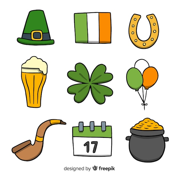 St patrick's day elements collection Free Vector