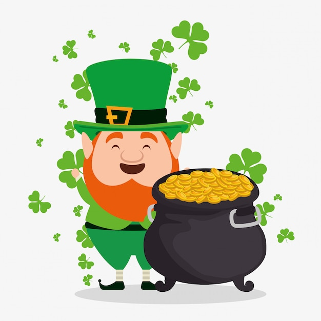 St patrick's day elf wearing hat with cauldron and coins Free Vector