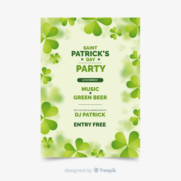 St. patrick's day flyer party template Free Vector