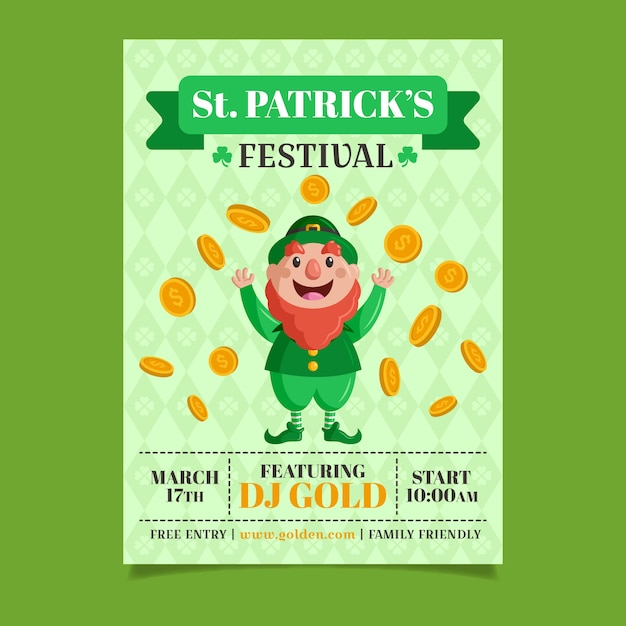 St. patrick's day flyer template in flat design Free Vector