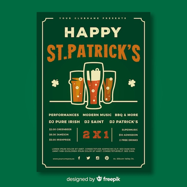 St. patrick's day flyer template Free Vector
