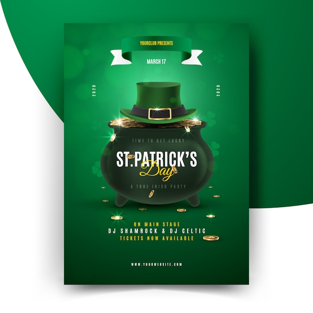 St. patrick's day flyer with cauldron and top hat Free Vector