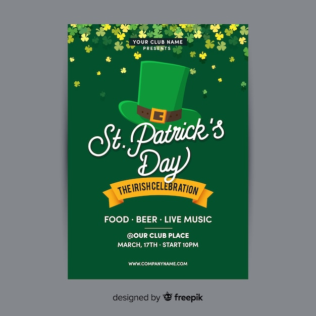 St. patrick's day flyer Free Vector