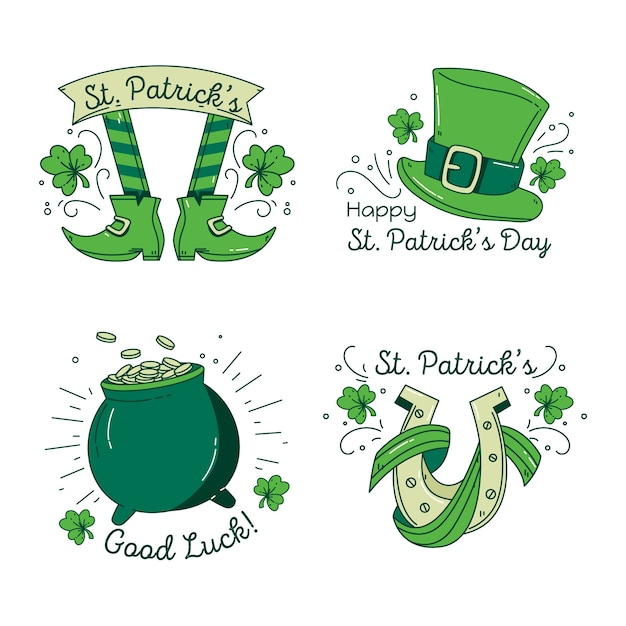 St. patrick's day green label collection with lucky objects Free Vector