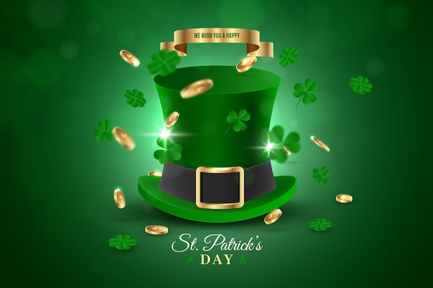 St. patrick's day green top hat and clovers Free Vector