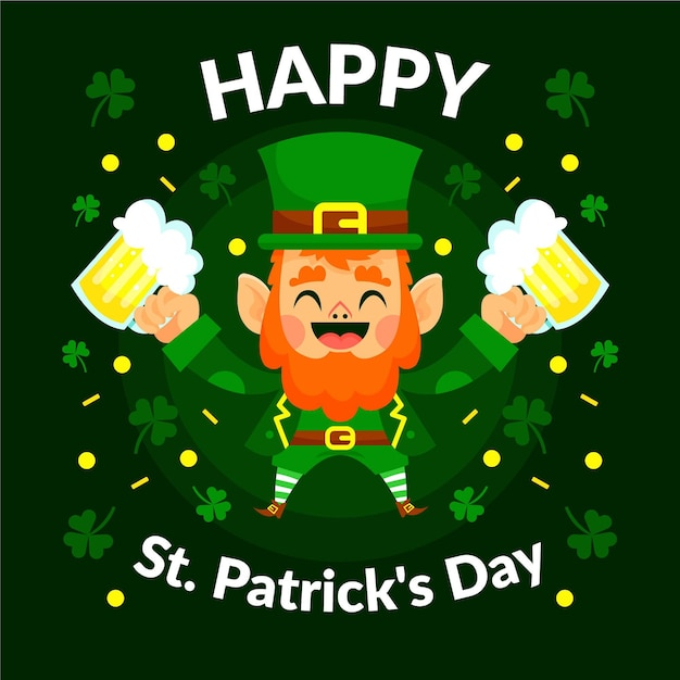 St. patrick's day illustration with leprechaun and pints Free Vector