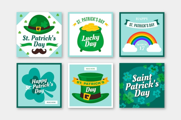 St. patrick's day instagram post collection Free Vector