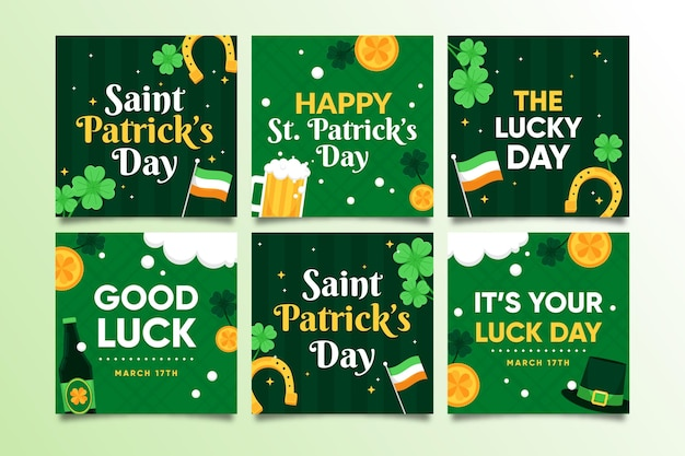 St. patrick's day instagram posts collection Free Vector