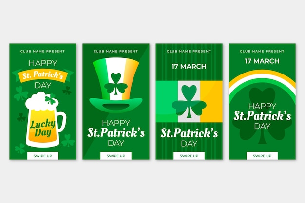 St. patrick's day instagram stories collection Free Vector