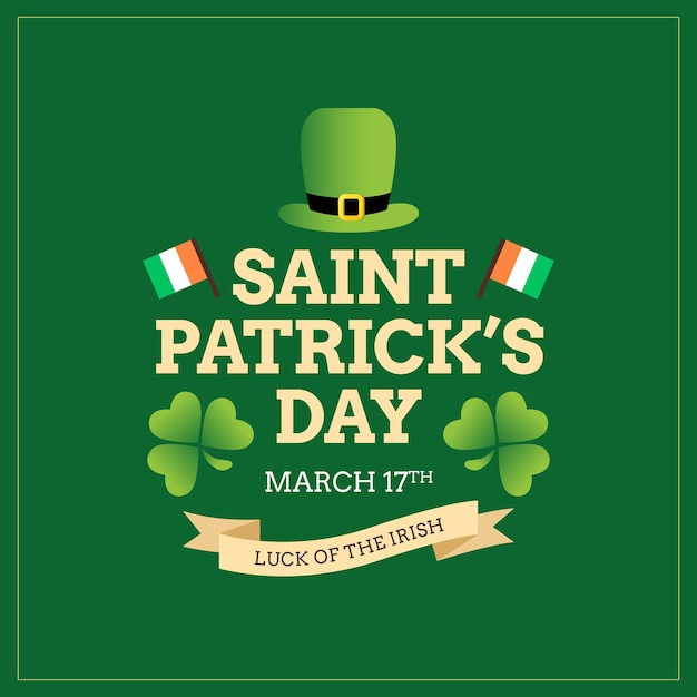 St. patrick's day irish poster and greeting card Premium Vector