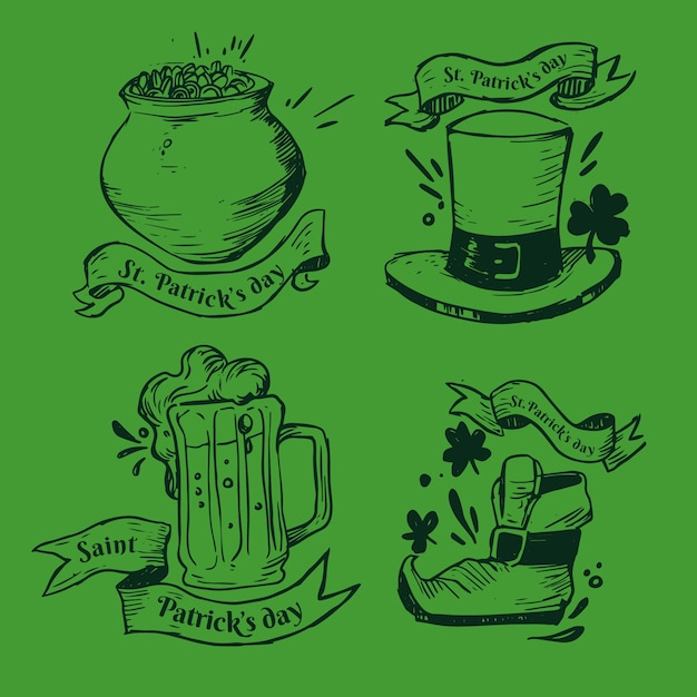 St. patrick's day label / badge collection Free Vector