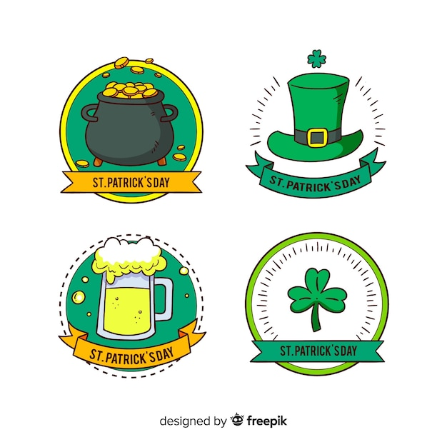 St. patrick's day label collection Free Vector