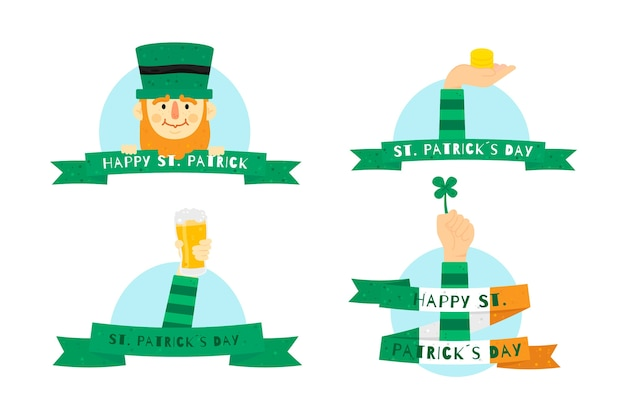 St. patrick's day labels and badges with ribbons Free Vector