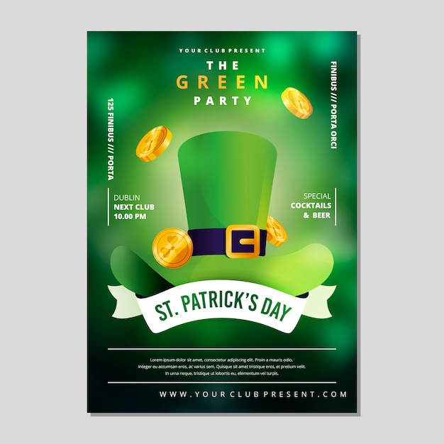 St. patrick's day party poster or flyer template blurred effect Free Vector