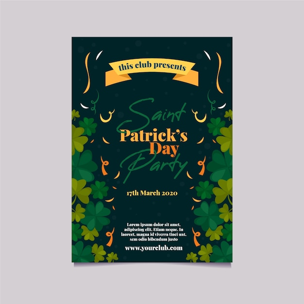 St. patrick's day party poster or flyer template with ribbon and clovers Free Vector