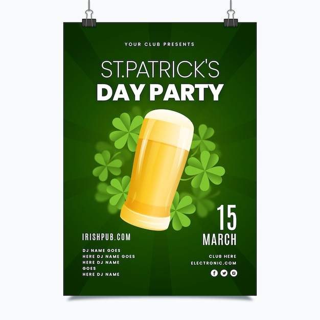 St. patrick's day poster template in flat design Free Vector