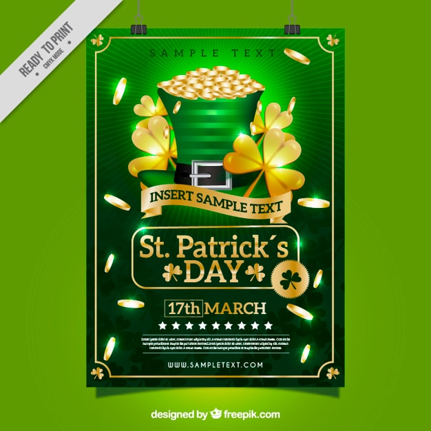 St patrick's day poster template with golden clovers and coins Free Vector