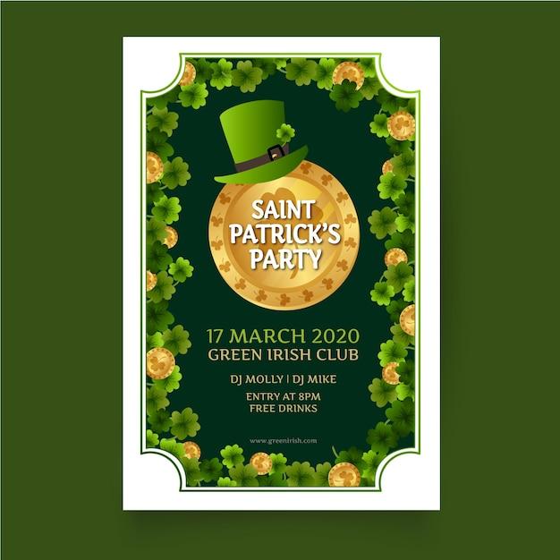エルフの緑の帽子と聖パトリックの日のポスター 無料ベクター