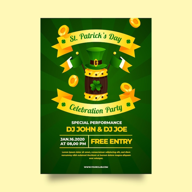 St. patrick's day poster with golden ribbons Free Vector