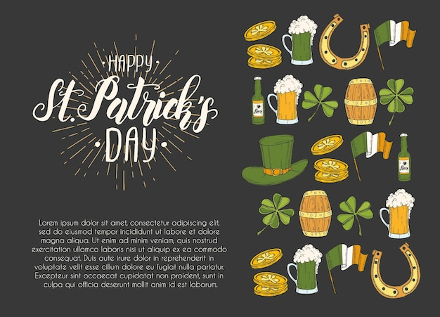 St patrick's day poster with hand drawn icons. Premium Vector