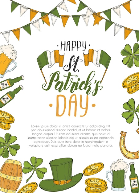 St patrick's day poster with hand drawn Premium Vector